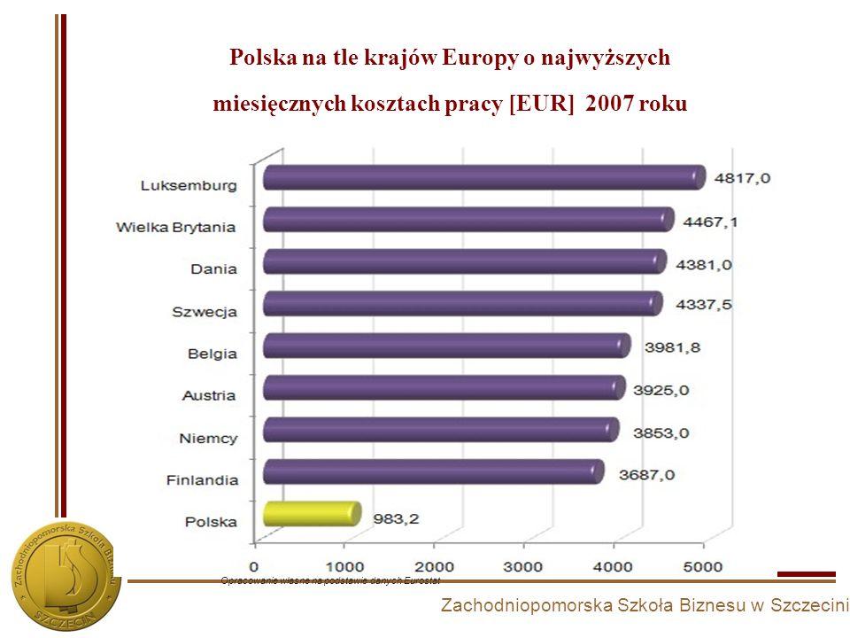 Polska na tle krajów Europy o najwyższych miesięcznych kosztach pracy [EUR] 2007 roku
